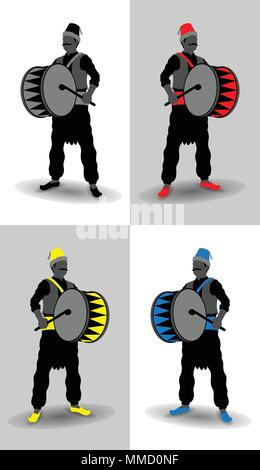 Ramadan drummer silhouettes. All the objects are in different layers and the text types do not need any font. - Stock Photo