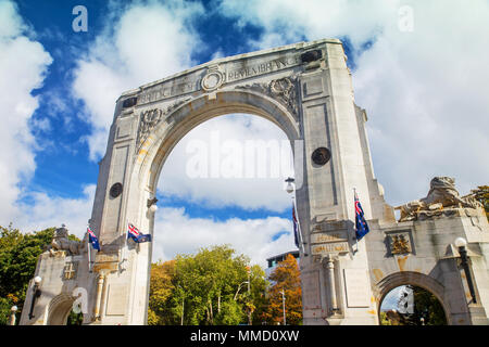 Bridge of Remembrance in the cloudy day. The landmark located in the city centre of Christchurch, New Zealand. - Stock Photo