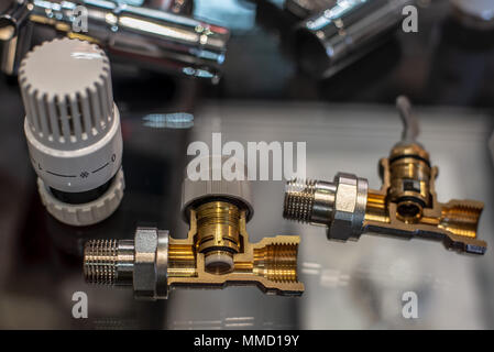 Handle control heater thermostat. Close-up. In section. For radiator. - Stock Photo