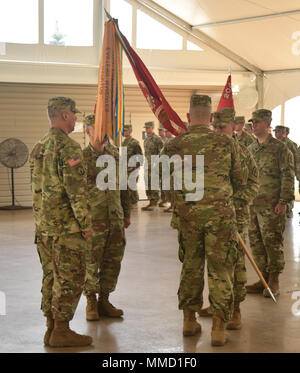 N.Y. Army National Guard Soldiers, assigned to the 204th Engineer Battalion, rehearse a change in command Ceremony in Johnson City, N.Y., Oct. 15, 2017. Lt. Col. Wing Yu was preparing to take command of the Battalion from Lt. Col. Christopher Guilmette. (N.Y. Army National Guard photo by Spc. Andrew Valenza) - Stock Photo