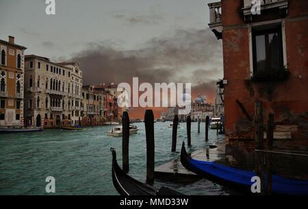 The church of Santa Maria della Salute, from The Grand Canal, Venice, Italy. - Stock Photo