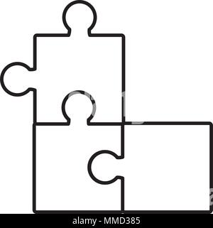 line puzzle pieces together business game - Stock Photo