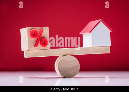 Close-up Of Wooden Seesaw Showing Balance Between Percentage Symbol And House Model - Stock Photo