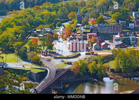 An aerial view on the historic Harpers Ferry town from the high point overlook, West Virginia, USA. Early autumn in the town where Potomac and Shenand - Stock Photo