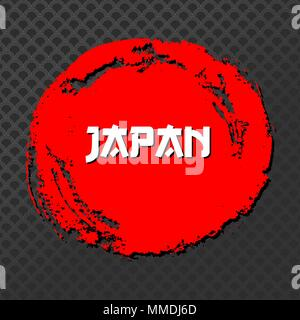 Japan Red Sign Vector. Grunge Red circle Stamp On Black Background. Chinese Ink Or Rubber Textured Sun Poster Illustration. - Stock Photo