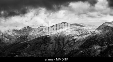 Panoramic view of Glyder Fawr from Mount Snowdon in black and white - Stock Photo