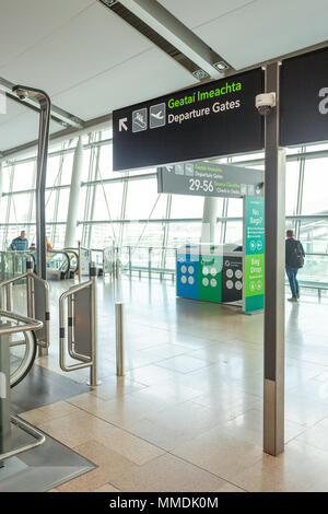 Dublin, Ireland - May 8th, 2018: The new Terminal 2 at Dublin Airport in Ireland. Passenger signage at the entrance. - Stock Photo