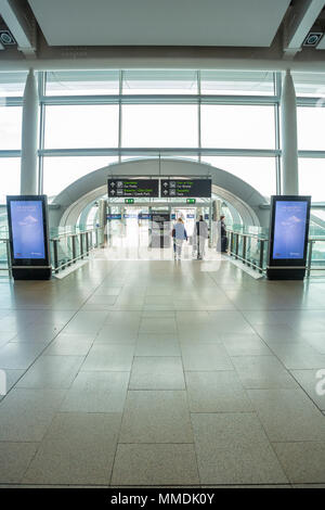 Dublin, Ireland - May 8th, 2018: The new Terminal 2 at Dublin Airport in Ireland. The entrance from the inside. - Stock Photo
