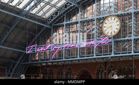 Tracey Emin Unveils 2018 Terrace Wires art commission. Depicting the words, 'I Want My Time With You' in Emin's signature handwriting, the light installation is suspended above the Grand Terrace beneath the DENT London clock, hanging on wires from the station's Grade 1 listed Barlow shed roof. At 20 meters long, the artwork is the largest text piece ever made by the artist and will remain on display until the end of the year.  Featuring: Atmosphere Where: London, United Kingdom When: 10 Apr 2018 Credit: Phil Lewis/WENN.com - Stock Photo