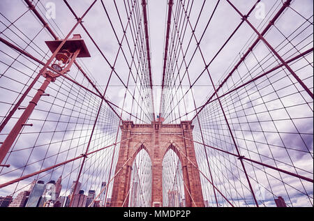 Vintage toned picture of the Brooklyn Bridge, New York City, USA. - Stock Photo