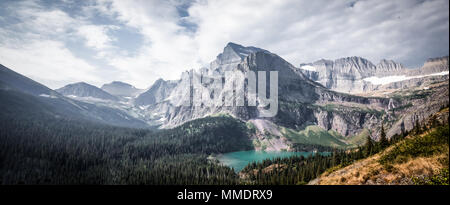 Panoramic view of Angel Wing and Grinnell Lake from Grinnell Glacier Hike in Many Glacier, Glacier National Park, Montana. - Stock Photo