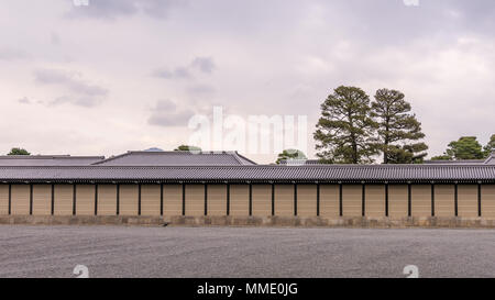 View of the perimeter wall of the Kyoto Imperial Palace, Japan - Stock Photo
