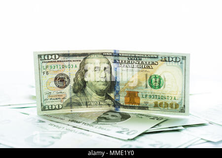 American dollar banknotes and Turksh Lira banknotes side by side - Stock Photo