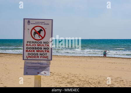 No dogs on beach warning sign. Badly translated dogs not under fine. Spanglish. Spanish to English pigeon English. Error. Translation. Incorrect - Stock Photo