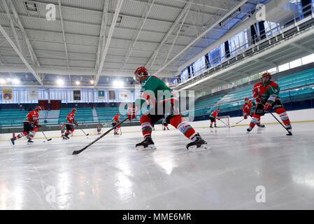 Ice Hockey match. Hockey team. HC Mont-Blanc. - Stock Photo