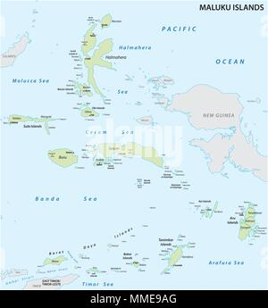Maluku Islands vector map - Stock Photo