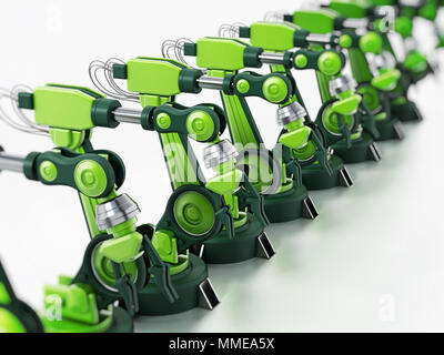 Robotic arms standing in a line inside a factory. 3D illustration. - Stock Photo