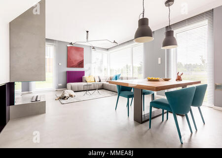 Bright open plan apartment interior in modern design with wooden communal table, beige couch and blue designer chairs - Stock Photo
