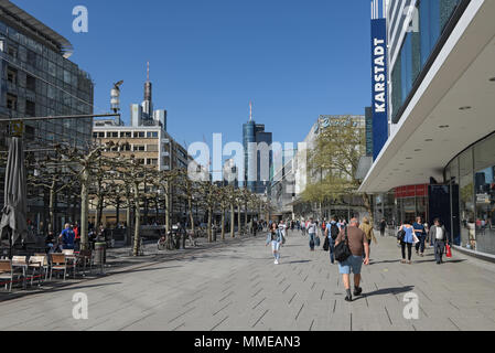 people walk in the morning on the pedestrian zone Zeil in frankfurt am main, germany - Stock Photo