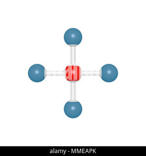 Molecule model of five atoms as methane plane structure, 3D rendered object for education and school typography, may be used as part of molecules font - Stock Photo