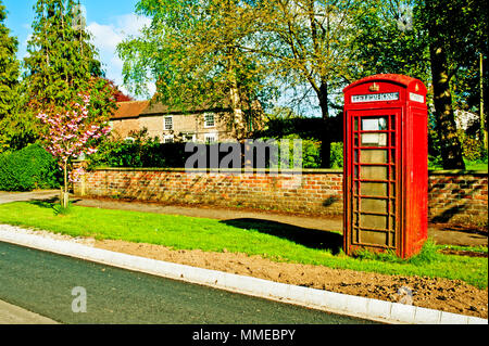 Telephone Booth, alne, North Yorkshire, England - Stock Photo