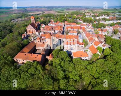 Aerial view of medieval Reszel town - small town of Warmia region, with a long history, many historical monuments and various tourist attractions, Pol - Stock Photo