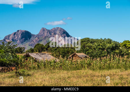 Traditional Bara villages dot the legendary National Route 7 in the southern part of the central plateau of Madagascar, near the Isalo National Park - Stock Photo