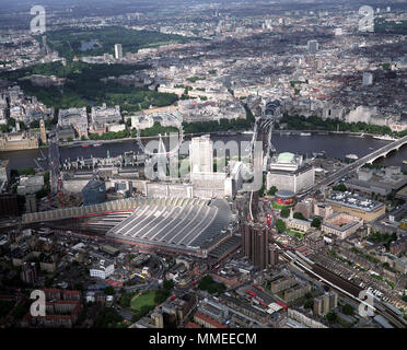 A aerial view of London showing the River Thames, Waterloo Station, the Houses of Parliament, Big Ben, The London Eye, Charing Cross Station, Westmins - Stock Photo