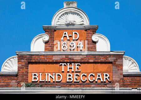 LONDON, UK - APRIL 19TH 2018: The original lettering on the exterior of The Blind Beggar public house on Whitechapel Road in London, on 18th April 201 - Stock Photo