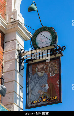 LONDON, UK - APRIL 19TH 2018: The sign of The Blind Beggar public house on Whitechapel Road in London, on 19th April 2018.  The pub is known to be the - Stock Photo