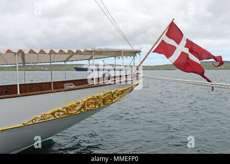 The Danish Royal boat the Dannebrog on her visit to Lerwick in the Shetland Isles - Stock Photo