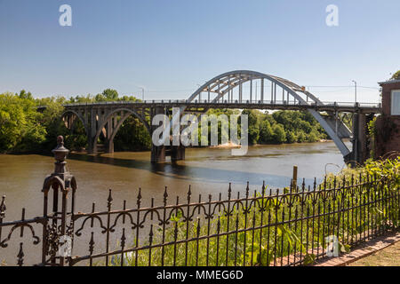 Selma, Alabama - The Edmund Pettus Bridge over the Alabama River, where civil rights demonstrators demanding the right to vote were badly beaten by sh - Stock Photo
