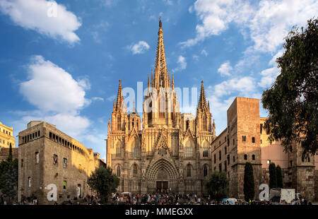 Barcelona, Spain - September 25, 2015: Cathedral of the Holy Cross and Saint Eulalia in Barcelona, Spain at sunset. Unidentified people present on pic - Stock Photo