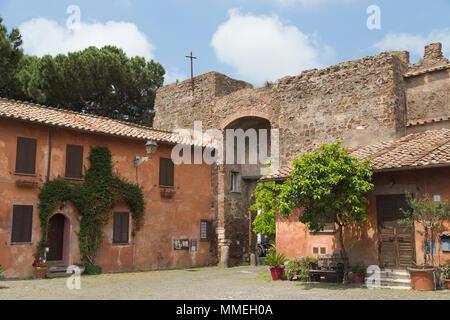 entrance to castle at Ostia Antica near Rome Italy - Stock Photo