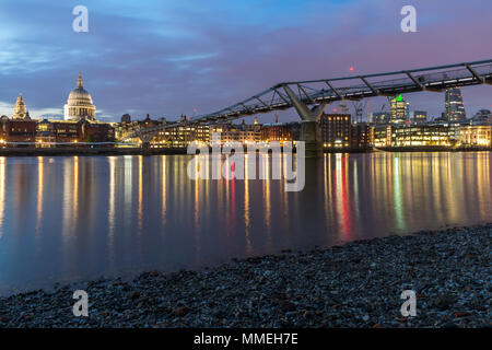 Night cityscape of St. Paul's Cathedral from Thames river, London, England, Great Britain - Stock Photo