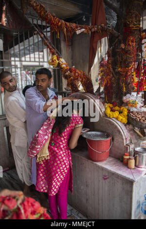 Hindu priest blesses woman praying in the Kali temple in Kolkata, India - Stock Photo