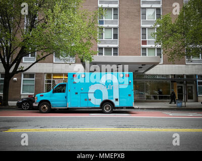 An 'ambulanz' brand on demand ambulance is seen parked in the Chelsea neighborhood of New York on Sunday, April 29, 2018. The tech driven company dispatches via an app enabling real-time tracking and scheduling and is not part of New York's 911 system. (© Richard B. Levine)