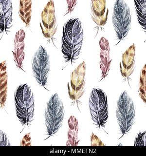 Decorative seamless pattern with feathers . Watercolor background . - Stock Photo