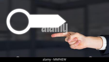 Hand pointing and arrow pointer - Stock Photo