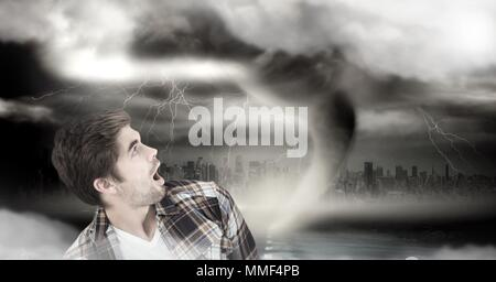 Tornado twister and dark sky with man afraid - Stock Photo
