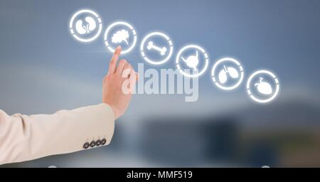 Human body organs and hand touching air - Stock Photo