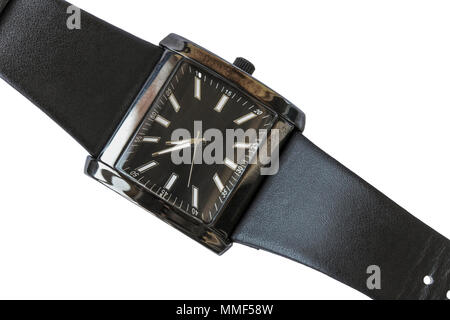 Wrist watch with a black leather remshkom isolated on a white background - Stock Photo