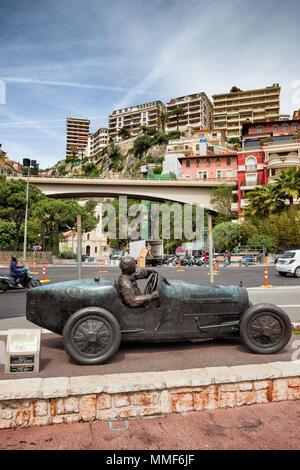 Monaco, bronze statue of William Grover (WILLIAMS) in his Bugatti 35B, winner of the first Monte Carlo Grand Prix 1929 - Stock Photo