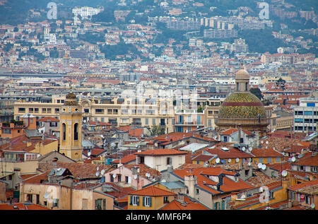 View on old town and dome of Cathedral Saint-Reparate, Nice, Côte d'Azur, Alpes-Maritimes, South France, France, Europe - Stock Photo