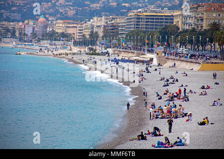 Beach at Promenade des Anglais, Nice, Côte d'Azur, Alpes-Maritimes, South France, France, Europe - Stock Photo