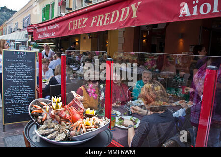 Street restaurant 'Chez Freddy' at place Cours Saleya, Nice, Côte d'Azur, Alpes-Maritimes, South France, France, Europe - Stock Photo