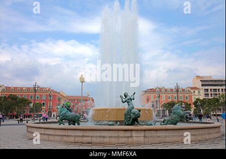 Fountain with sculptures at the historic square Place Masséna, Nice, Côte d'Azur, Alpes-Maritimes, South France, France, Europe - Stock Photo