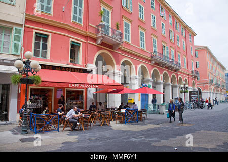 Cafe Massena at shopping center Lafayette, Place Masséna, Nice, Côte d'Azur, Alpes-Maritimes, South France, France, Europe - Stock Photo