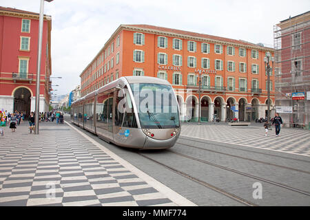 Lignes d'Azur, tramway at shopping center Lafayette, Place Masséna, Nice, Côte d'Azur, Alpes-Maritimes, South France, France, Europe - Stock Photo