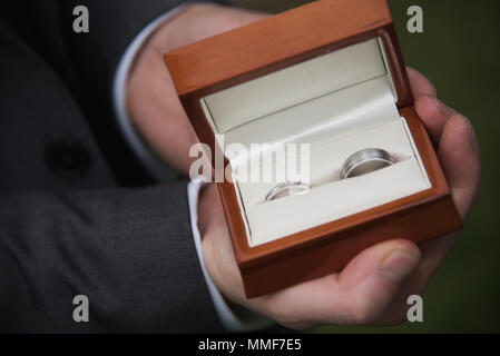 Best Man holding Wedding rings in boxe - Stock Photo